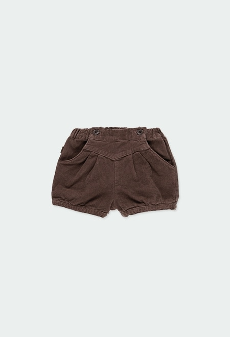 Corduroy stretch shorts for baby girl_1