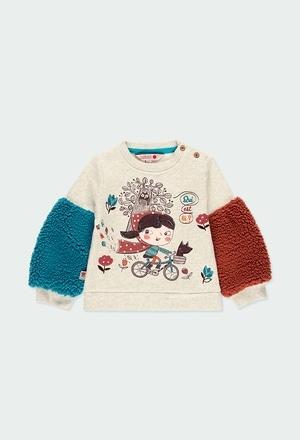 Fleece sweatshirt with stripes for baby_1