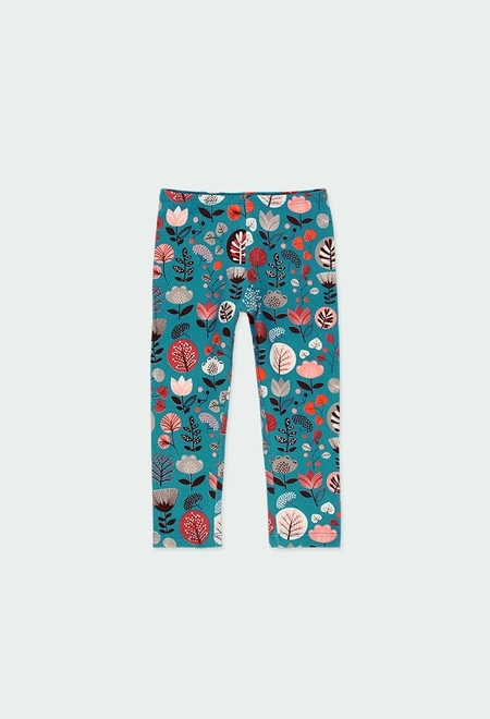 Stretch knit leggings floral for baby_1