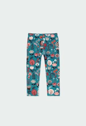 Leggings malha elástica floral do bébé_1