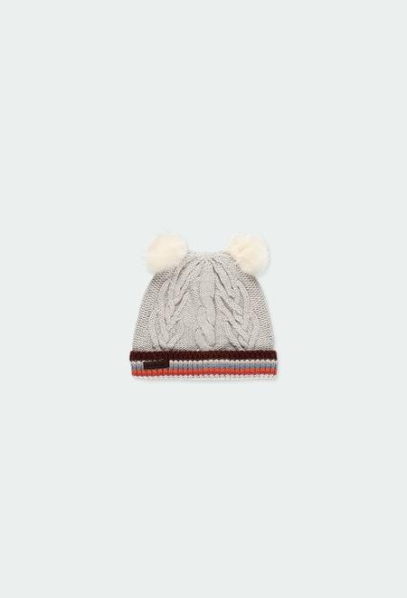 Gorro tricotosa con pompones de bebé_1