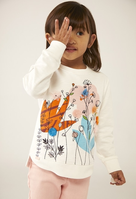 "Fleece sweatshirt ""floral"" for baby girl_1"