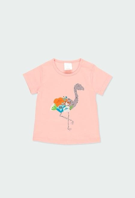 """Camiseta punto """"flamenco"""" de bebé niña_1"""
