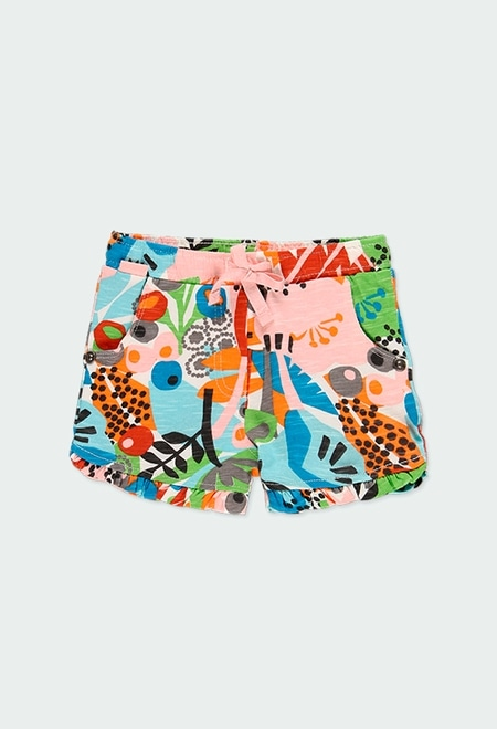 """Knit shorts """"floral"""" for baby girl_1"""
