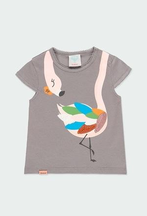 """T-Shirt tricot """"flamand rose"""" pour bébé fille_1"""