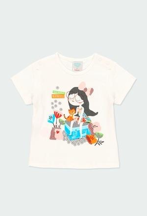 """Camiseta punto """"niña y gato"""" de bebé_1"""