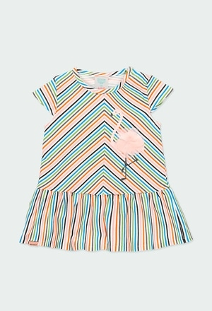 Knit dress striped for baby girl_1