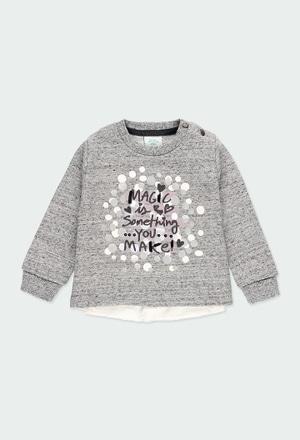 Fleece sweatshirt with guipure for baby girl_1