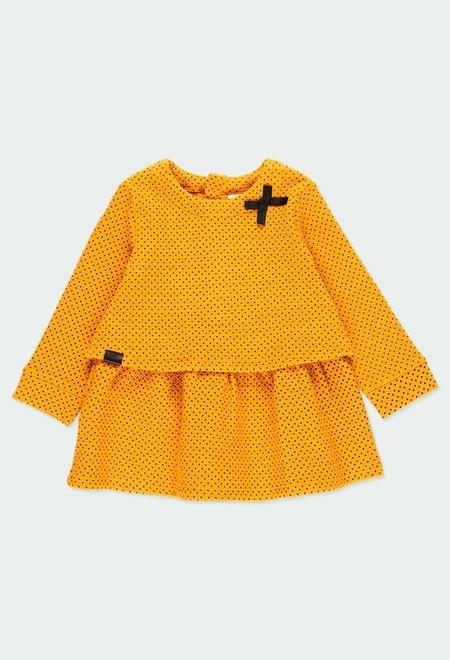 Vestido punto topitos de bebé niña_1