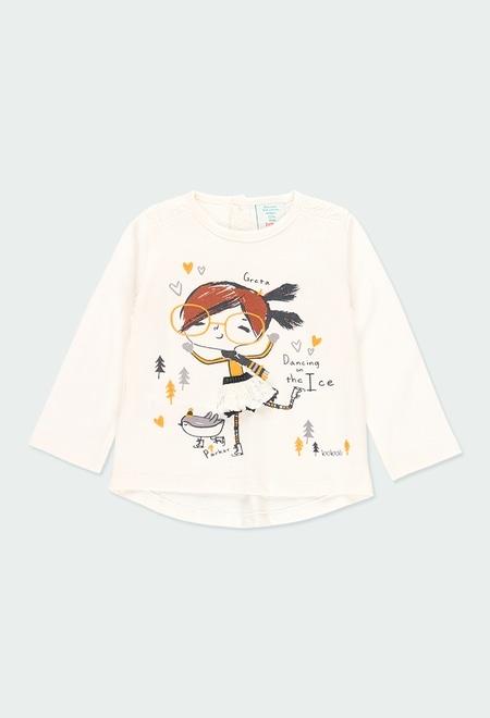 Camiseta punto con guipur de bebé niña_1