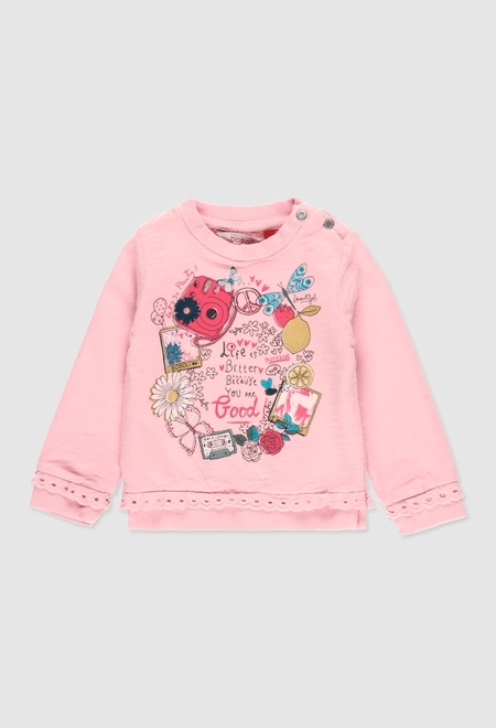 Fleece sweatshirt flame for baby girl_1