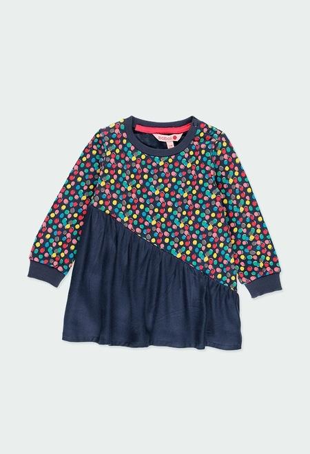 Fleece dress polka dot for baby girl_1