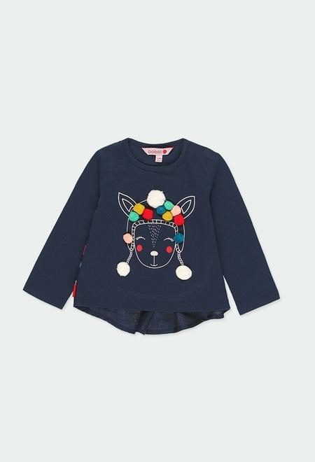 Camiseta punto con pompones de bebé niña_1