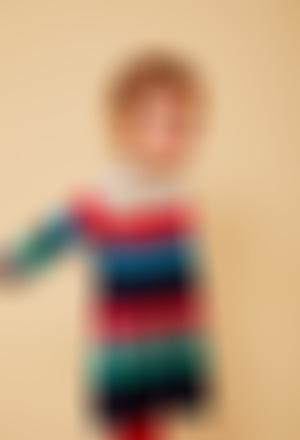 Vestido tricotosa listada de bebé niña