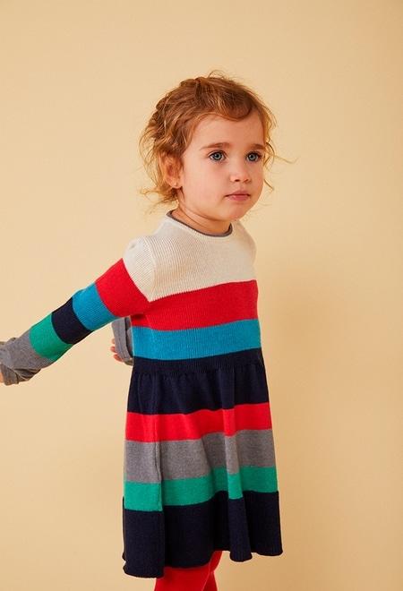 Kleid strick gestreift für baby mädchen_1