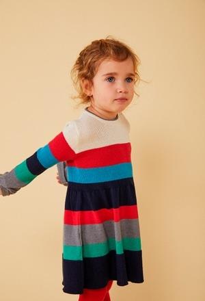 Vestido tricotosa listada de bebé niña_1