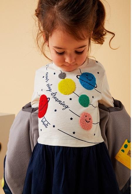 Vestido punto combinado planetas de bebé_1