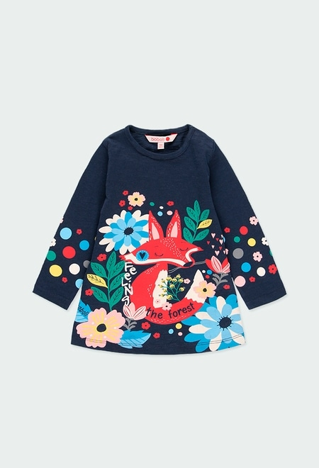 "Vestido malha ""raposa"" para o bebé menina_1"