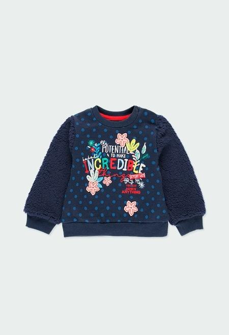 """Fleece sweatshirt """"floral"""" for baby girl_1"""