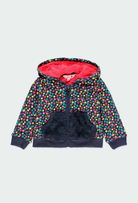 Fleece jacket polka dot for baby girl_1
