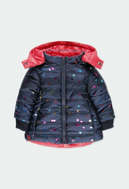 Reversible parka polka dot for baby girl_1