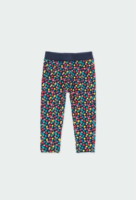 Fleece trousers polka dot for baby girl_1