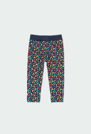 Fleece trousers polka dot for baby girl_1