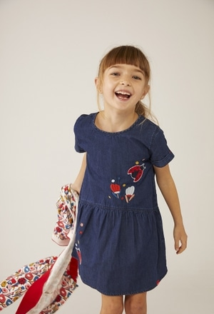 "Denim dress ""ladybird"" for baby girl_1"
