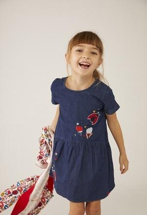 """Vestido denim """"joaninha"""" para o bebé menina_1"""