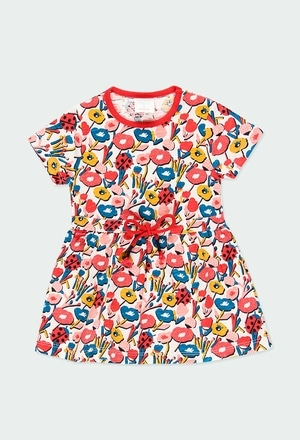 Knit dress flame floral for baby girl_1