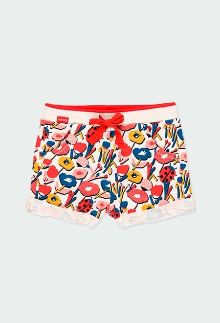 Fleece shorts flame floral for baby girl_1