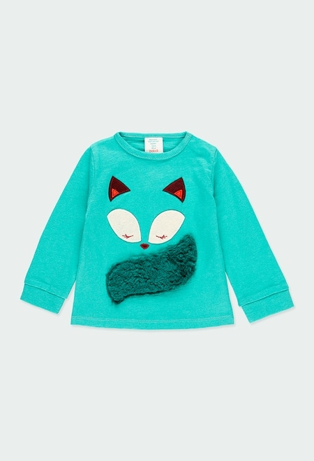 """Knit t-Shirt """"fox"""" for baby girl_1"""