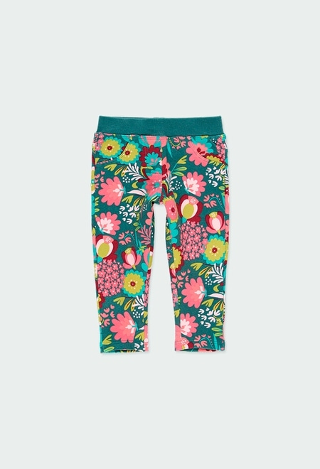 Stretch fleece trousers floral for baby_1
