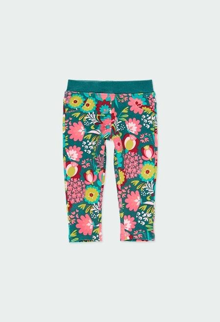 Pantalón felpa elástica flores de bebé_1