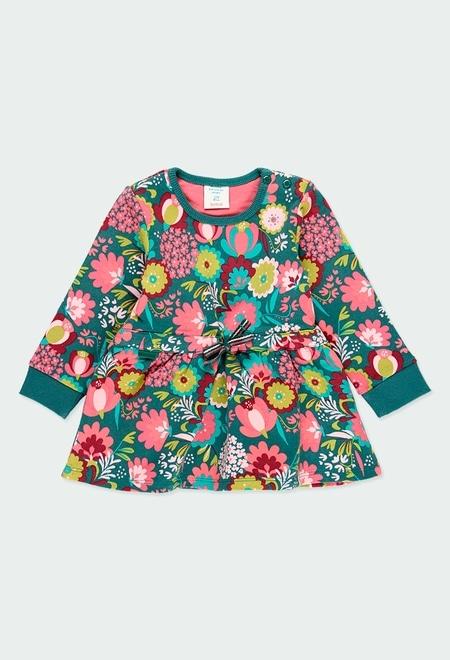Fleece dress floral for baby girl_1