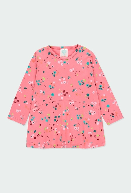 Knit dress floral for baby girl_1