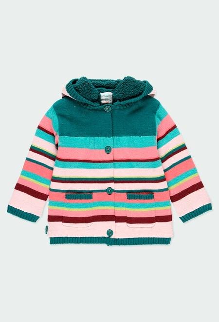 Chaqueta tricotosa listada de bebé niña_1
