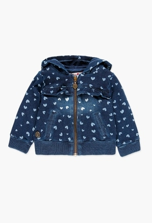Fleece jacket denim for baby girl_1