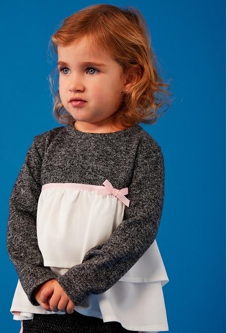 T-Shirt tricot bi matiere pour bébé fille_1