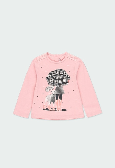"""Knit t-Shirt """"girl & dog"""" for baby_1"""