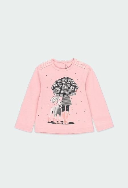 """Camiseta malha """"menina e cão"""" do bébé_1"""