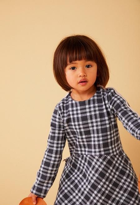 Vestido punto cuadros de bebé niña_1