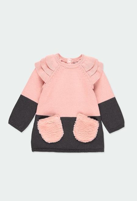 Vestido tricot com folhos do bébé_1