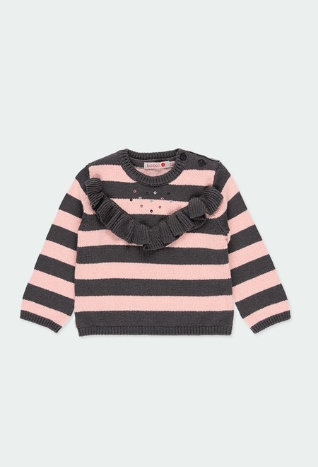 Knitwear pullover with ruffles for baby_1