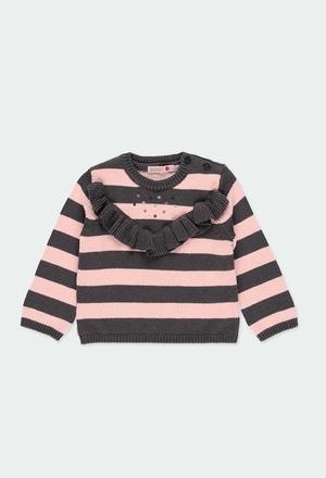 Pullover tricot com folhos do bébé_1