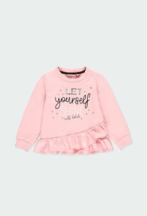Fleece sweatshirt with ruffles for baby girl_1