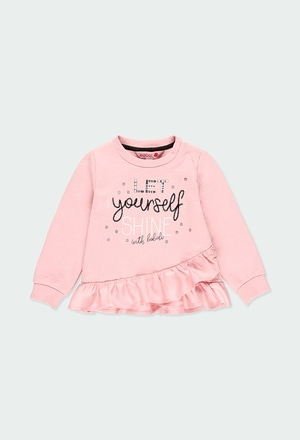 Fleece sweatshirt with ruffles for baby girl_1