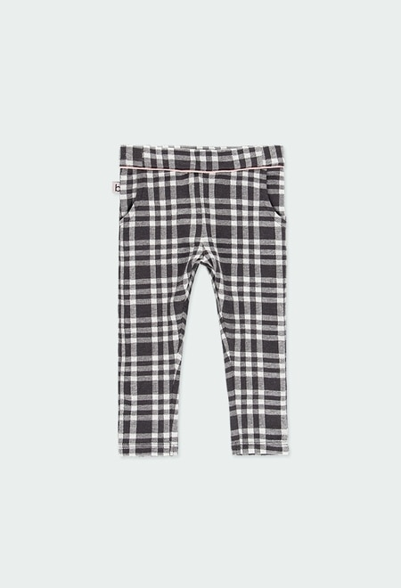 Knit trousers check for baby girl_1