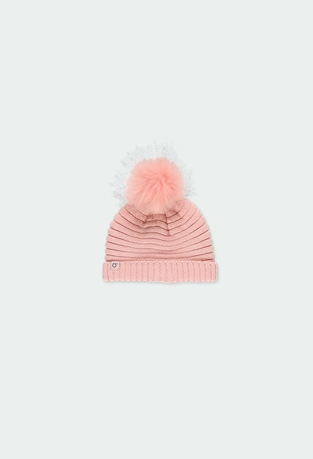 Gorro tricotosa con pompón de bebé niña_1