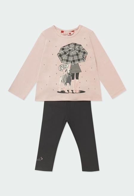"""Pack knit """"girl & dog"""" for baby girl_1"""